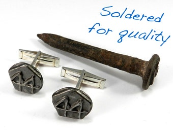 Steampunk Cufflinks, Railroad Date Nail Cufflink, Mens STERLING Vintage 1944 Date Nail, Unique Birthday Anniversary Father's Day Gift