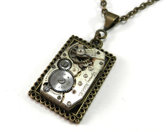 STEAMPUNK Pendant - Clockwork Square - Upcycled Brass Watch Necklace - 6 Jewel Olympic Watch Pendant