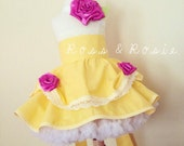 Belle Inspired Dress Up Costume Apron, Half Apron style, Enchanted Rose Style...Made to Order