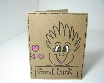 """Greeting Card PinHead Happy Face """"Good Luck"""""""