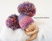 Newborn Oversized Pom Pom Hat, Baby Double Pom Pom Hat, Choose Any Color, Newborn Photography Prop
