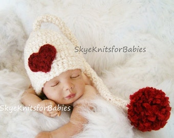 Baby Girl Hat, Baby Boy Hat, Baby Valentine's, Crochet Baby Hat, Newborn Elf Hat, Baby Valentine's Hat Photography Props, Newborn Photo Prop