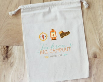 CAMP OUT - Personalized Favor Bags - Set of 10 - Birthday - Camping - Smores - Camp Fire - Scouts