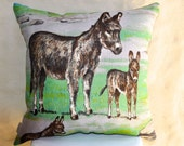 SALE DONKEYS  Vintage Irish  Linen Tea Towel Cushion Upcycled Repurposed  Animals Pillow Cushion