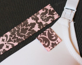 Mammary Minders Nursing Reminder in pink and brown damask (F10)