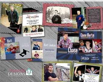 It's a Guy Thing Graduation Announcement COLLECTION- 5 photo templates on WHCC, Miller's Lab and ProDigitalPhotos Specs