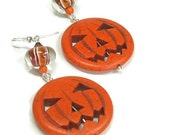 Jack O Lantern Earrings - Orange Carved Pumpkin Dangle Earrings - Halloween Jewelry - Autumn - Fall - Thanksgiving - Dangle - jackolant