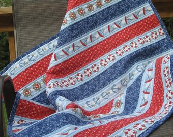 Handmade Nautical Baby Boy Quilt-ANCHORS AWAY Red Blue & White Baby/Toddler Quilt-Unique Baby Gift-Nautical Baby Nursery Decor/Boat Quilt