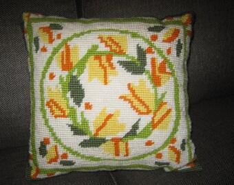 70's Handmade Tulip Needlepoint Pillow in Yellow Orange & Green Leaf on White-Original Needle Work Pillow-Rustic Farmhouse Folk Art Pillow