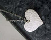 Heart Necklace /  Antiqued Silver Hammered Heart Pendant Necklace Silver Chain