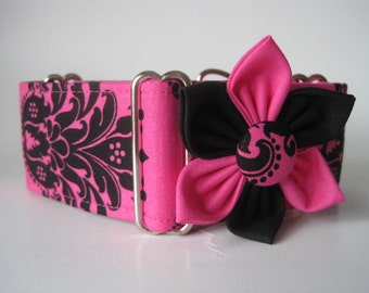 Hot Pink Martingale Collar and Matching Flower, 2 Inch Martingale Collar, Damask, Hot Pink Dog Collar, Greyhound Martingale, Sighthound