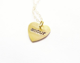 Paris Necklace Love Jewelry Gold French Charm Amour Pendant France Romantic Small Tiny Heart Accessories Wife Girlfriend Womens Gift For Her