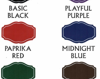 New Colors! Chalkboard labels: Medium 3 inch by 1 7/8 inch heirloom shape with permanent, printed white border - 12 pieces