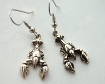 Vintage 1950's Earrings // 50s 60s Silver Surrealist Lobster Earrings