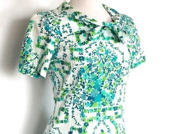 Vintage 1960s Dress // 60s Summer Aqua Blue and Lime Green Floral Dress // Sun Dress
