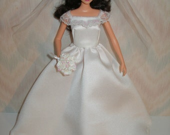 "Handmade 11.5"" Fashion doll clothes - white satin wedding gown"