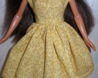 "Handmade 11.5"" fashion doll clothes - yellow and brown print dress"