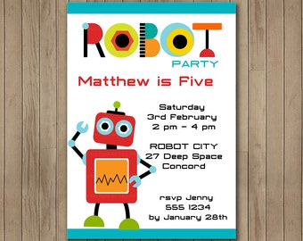 ROBOT Printable Birthday Invitation DIY, Boy Birthday, Robot Party, Robot Printable (Robot 2) 1122
