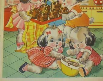 Vintage Ruth Newton Childrens Nursery Rhyme Book Print-Puppies Treats-Book Plate