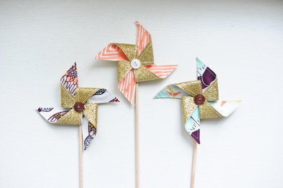 Golden Galore: 3 Mini Pinwheels