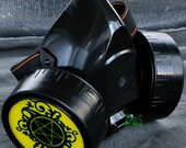 Cyber Mask Cyber Goth Respirator Black  Gas Mask  Pentagram