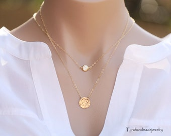 Double layered hammered gold disc necklace,tiny dot necklace,large hammered disc necklace,dainty layered necklace,Textured disc necklace
