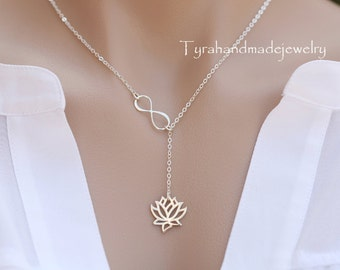Sterling Silver infinity Lotus necklace,Lotus infinity lariat,Mother necklace,Bridesmaid gift,figure eight,flower necklace,Wedding jewelry