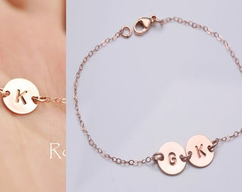 Personalized Rose gold initial bracelet,Pink gold monogram disc,hand stamped initial,Family,Friendship,Sister,Mother bracelet,custom font