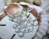 Sterling Silver Rainbow Moonstone Chandelier Leverback Earrings