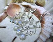 Sterling Silver Rainbow Moonstone Chandelier Leverback Earrings
