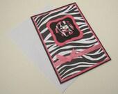 Pink Black and White Zebra Greeting Card Blank Inside