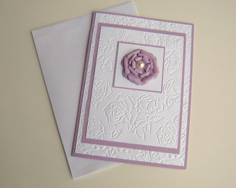 Light Purple and White Floral Rose Embossed Mothers Day Birthday Any Occasion Card With Paper Flower Blank Inside