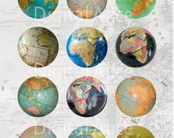 VINTAGE WORLD GLOBES Craft Circles - Retro Desk Globe - Instant Download Digital Printable Atlas Globe Circles -Bottlecaps Collage Sheet -