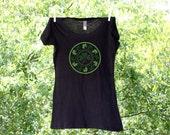 Green Shamrock Round Emblem-St. Patrick's Day Ladies Shirt