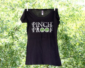 Pinch Proof with Green Clovers St. Patrick's Day Ladies Shirt