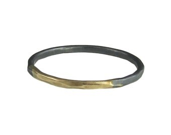 Black & Gold Thin Ring in Eco Friendly Recycled 14k Gold and Oxidized Sterling Silver