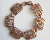 Modernist Retro Vintage 1950 Solid Copper Bracelet with Hinges and Safety Latch
