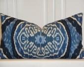 DURALEE - Decorative Pillow Cover - IKAT - Masala Denim  - Lumbar Pillow - Blue - Navy Pillow - Indigo Pillow