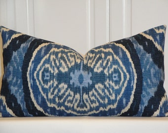 DURALEE - Decorative Pillow Cover - IKAT - Masala Denim  - Lumbar Pillow - Blue - Navy Pillow - Indigo Pillow