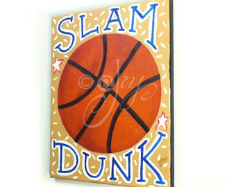 Basketball Art for Kids, SLAM DUNK BASKETBALL No.3, 11x14 Acrylic Sports Themed Wall Art