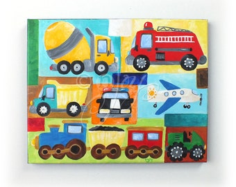 Personalized Car Nursery Art, TRANSPORTATION COLLAGE 11x14, Custom Art for Boy Room