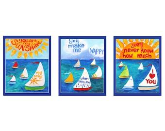 "You Are My Sunshine Sailboat PRINTS, 8""x10"" Set of 3, Nursery Wall Art, Decor"
