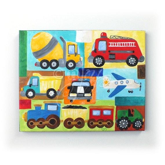 Personalized Car Nursery Art, TRANSPORTATION COLLAGE 11x14, Custom Art for Boy Room