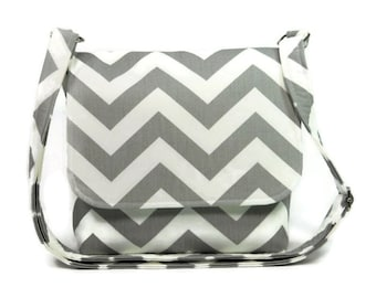 Small Messenger Purse, Cross Body Bag, Chevron Purse, Gray White Zig Zag with Mint Green, Gray Chevron Crossbody Purse, Adjustable Strap