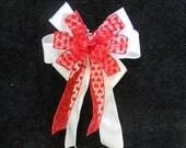 Valentine Bow sheer ribbon with red velvet hearts on White shimmering ribbon