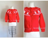 vintage red cardigan - SNOW BUNNY hand knit novelty sweater / XXS or child