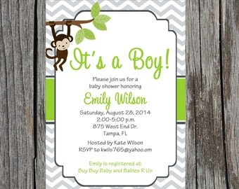 Monkey Baby Shower Invitation, jungle baby shower, baby boy shower, monkey, baby boy, custom and printable