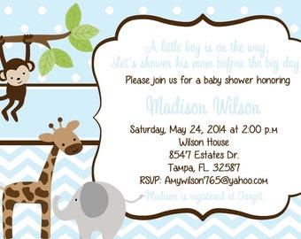Printed Jungle Baby Shower Invitation, jungle baby shower, giraffe, lion, baby boy shower, boy