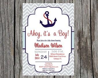 Printed Nautical Baby Shower Invitation, baby boy, nautical anchor shower invitation, baby boy