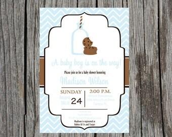 Printed Milk and cookies baby shower invitation, cookies and milk shower, baby boy shower, desserts showe